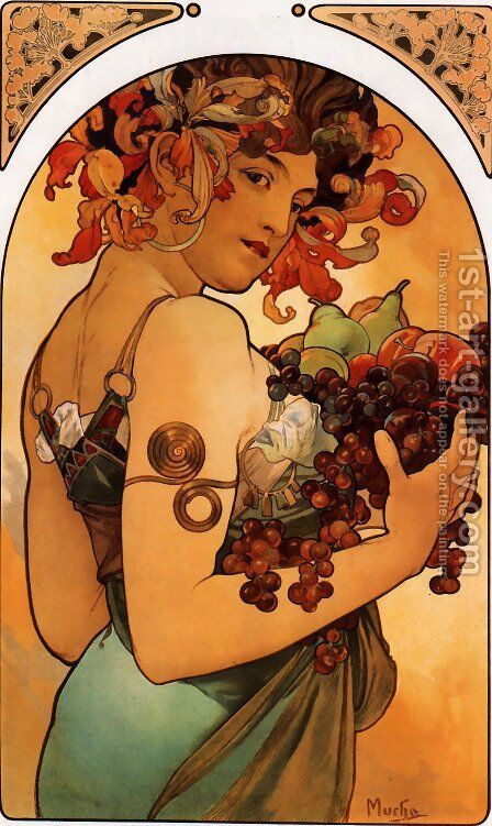 Fruit by Alphonse Maria Mucha - Reproduction Oil Painting