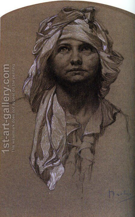 Head Of A Girl by Alphonse Maria Mucha - Reproduction Oil Painting