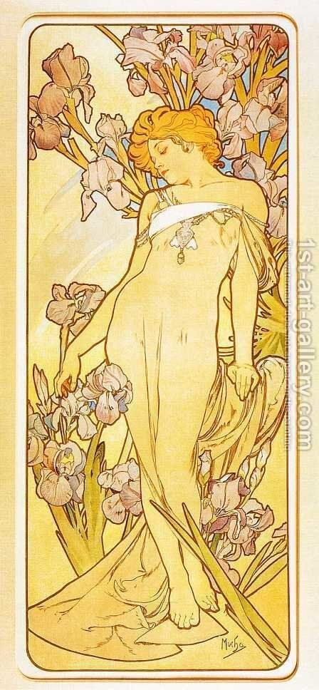 Iris by Alphonse Maria Mucha - Reproduction Oil Painting