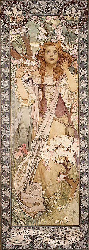 Maud Adams As Joan Of Arc by Alphonse Maria Mucha - Reproduction Oil Painting