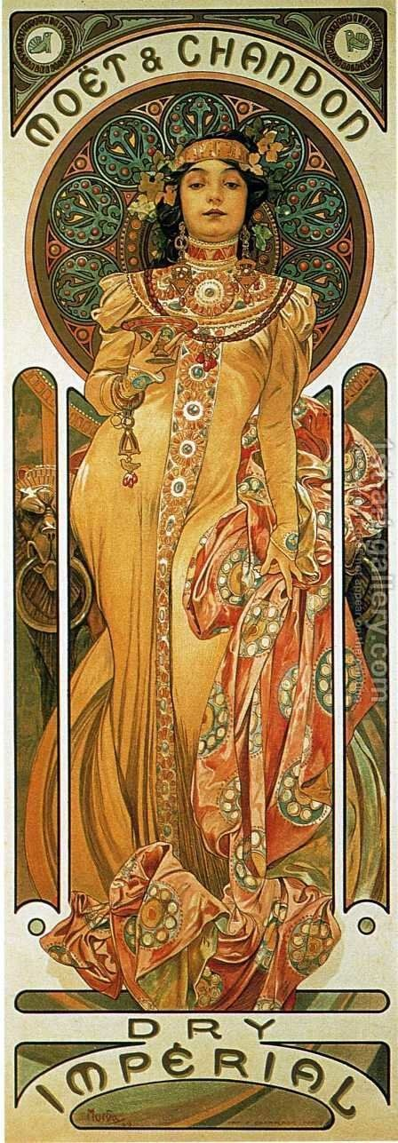 Moet And Chandon Cremant Imperial by Alphonse Maria Mucha - Reproduction Oil Painting