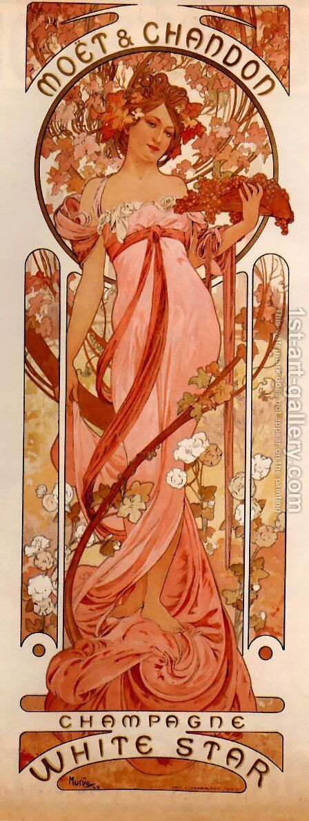 Moet And Chandon White Star by Alphonse Maria Mucha - Reproduction Oil Painting