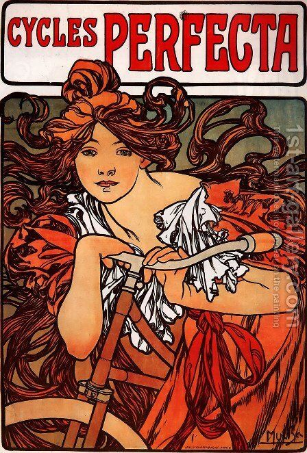 Perfecta Cycles by Alphonse Maria Mucha - Reproduction Oil Painting