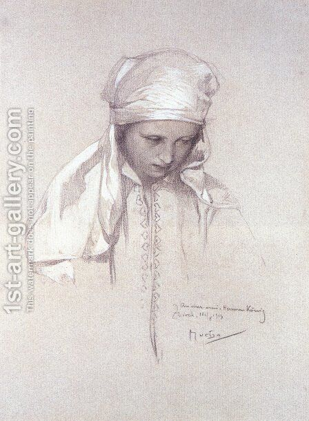 Portrait Of A Girl by Alphonse Maria Mucha - Reproduction Oil Painting