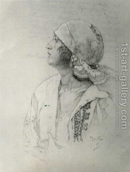 The Artists Daughter by Alphonse Maria Mucha - Reproduction Oil Painting