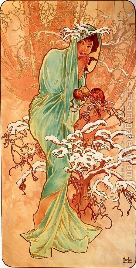 Winter by Alphonse Maria Mucha - Reproduction Oil Painting
