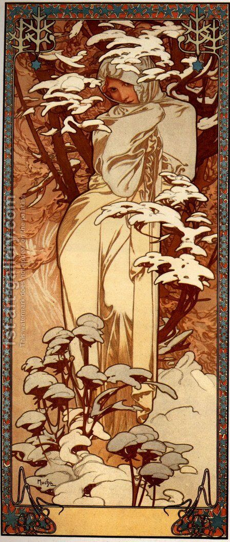 Winter Ii by Alphonse Maria Mucha - Reproduction Oil Painting