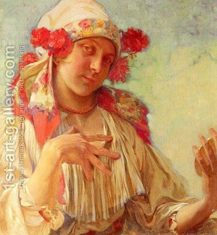 Young Girl In A Moravian Costume by Alphonse Maria Mucha - Reproduction Oil Painting