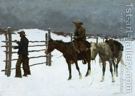 The Fall Of The Cowboy by Frederic Remington - Reproduction Oil Painting