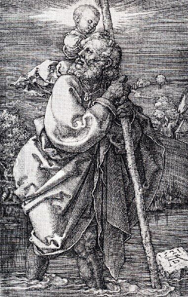 St  Christopher Facing To The Left by Albrecht Durer - Reproduction Oil Painting