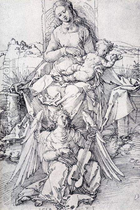 The Madonna And Child With A Music Making Angel by Albrecht Durer - Reproduction Oil Painting