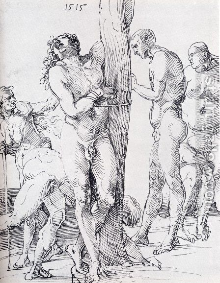 Male And Female Nudes 1515 by Albrecht Durer - Reproduction Oil Painting