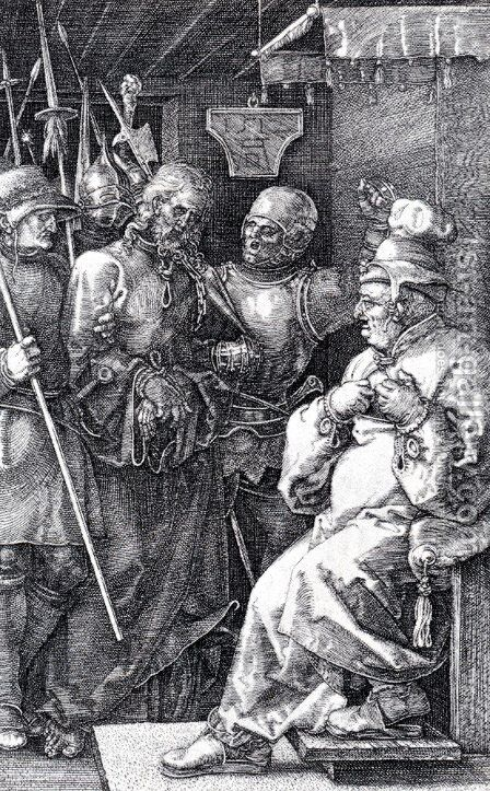 Christ Before Caiaphas (Engraved Passion) by Albrecht Durer - Reproduction Oil Painting