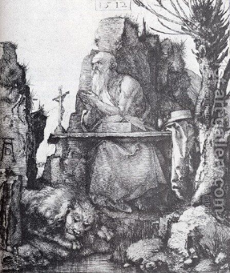 St  Jerome By The Pollard Willow by Albrecht Durer - Reproduction Oil Painting