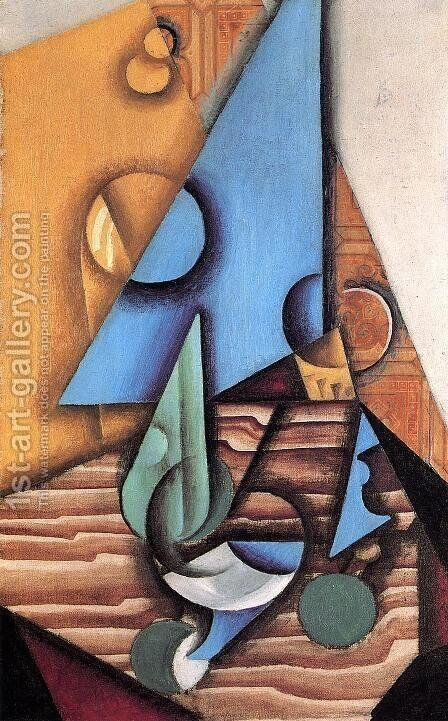 Bottle And Glass On A Table by Juan Gris - Reproduction Oil Painting