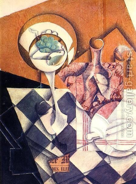 Fruit Dish And Carafe by Juan Gris - Reproduction Oil Painting