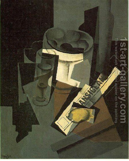 Fruit Dish Glass And Lemon Still Life With Newspaper by Juan Gris - Reproduction Oil Painting