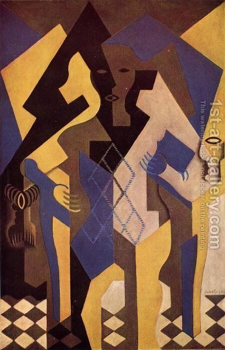 Harlequin At A Table by Juan Gris - Reproduction Oil Painting