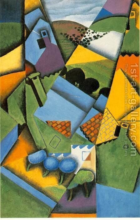 Landscape With Houses At Ceret by Juan Gris - Reproduction Oil Painting