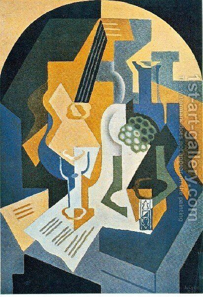 Still Life With Fruit Dish And Mandolin by Juan Gris - Reproduction Oil Painting