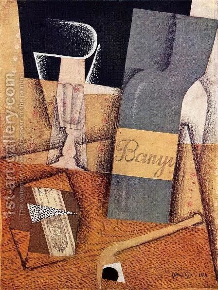 The Bottle Of Banyuls by Juan Gris - Reproduction Oil Painting