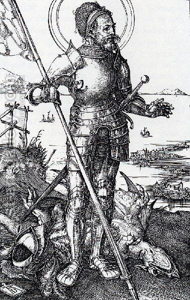 St  George On Foot by Albrecht Durer - Reproduction Oil Painting