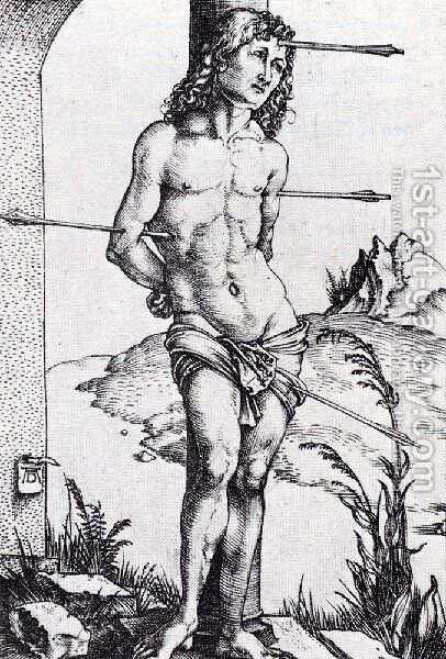 St  Sebastian At The Column by Albrecht Durer - Reproduction Oil Painting