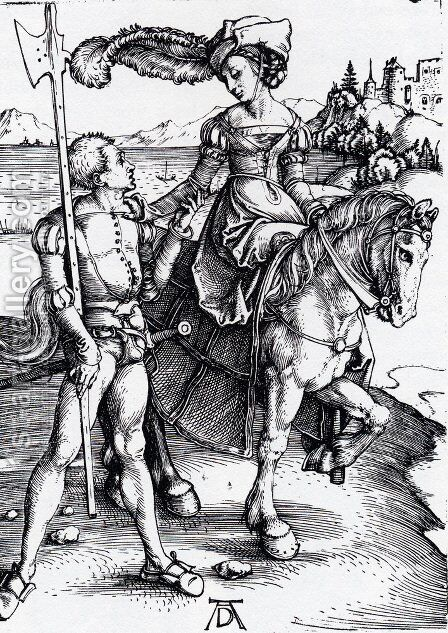 Lady On Horseback And Lansquenet by Albrecht Durer - Reproduction Oil Painting