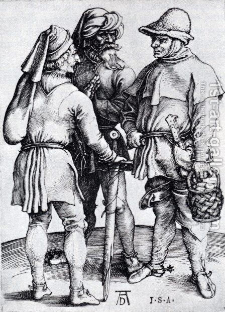 Three Peasants In Conversation by Albrecht Durer - Reproduction Oil Painting