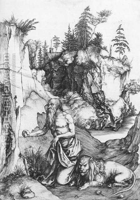 St  Jerome Penitent In The Wilderness by Albrecht Durer - Reproduction Oil Painting