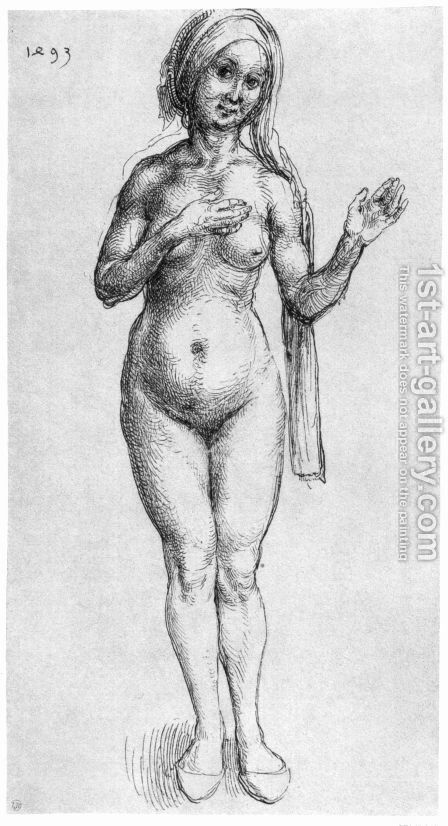 Female Nude (With Headcloth And Slippers) by Albrecht Durer - Reproduction Oil Painting