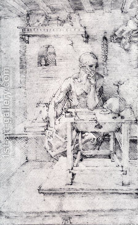 St  Jerome In His Study (Without Cardinals Robes) by Albrecht Durer - Reproduction Oil Painting