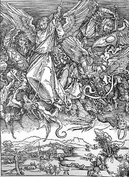 St  Michaels Fight Against The Dragon by Albrecht Durer - Reproduction Oil Painting