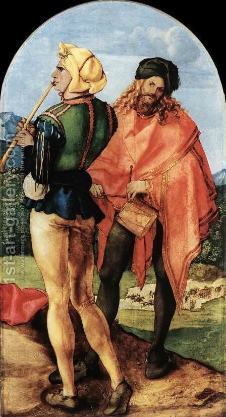 Two Musicians by Albrecht Durer - Reproduction Oil Painting
