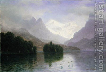 Mountain Scene by Albert Bierstadt - Reproduction Oil Painting