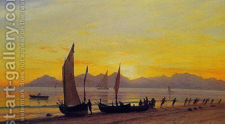 Boats Ashore At Sunset by Albert Bierstadt - Reproduction Oil Painting