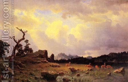 Thunderstorm In The Rocky Mountains by Albert Bierstadt - Reproduction Oil Painting