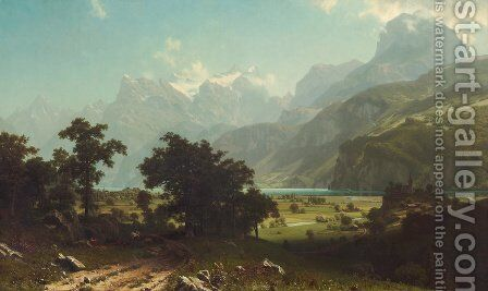 Lake Lucerne  Switzerland by Albert Bierstadt - Reproduction Oil Painting