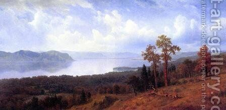 View Of The Hudson Looking Across The Tappan Zee Towards Hook Mountain by Albert Bierstadt - Reproduction Oil Painting