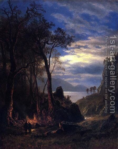 The Campfire by Albert Bierstadt - Reproduction Oil Painting