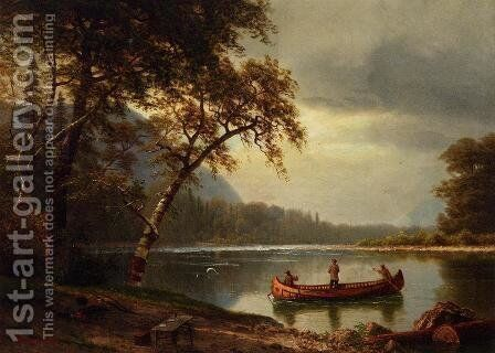 Salmon Fishing On The Cascapediac River by Albert Bierstadt - Reproduction Oil Painting