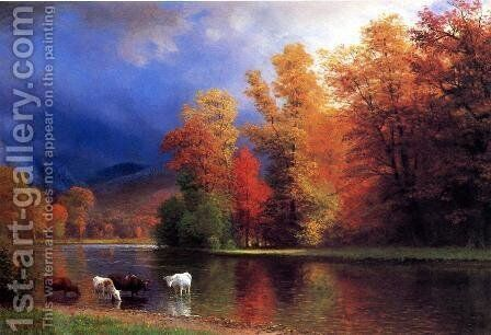 On The Saco by Albert Bierstadt - Reproduction Oil Painting