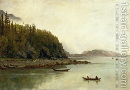 Indians Fishing by Albert Bierstadt - Reproduction Oil Painting