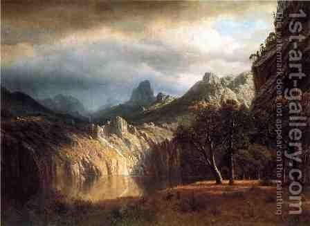 In Western Mountains by Albert Bierstadt - Reproduction Oil Painting