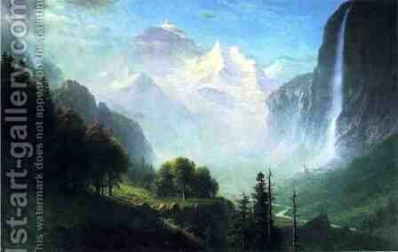 Staubbach Falls  Near Lauterbrunnen  Switzerland by Albert Bierstadt - Reproduction Oil Painting