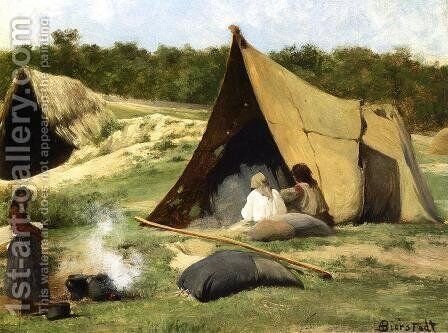 Indian Camp by Albert Bierstadt - Reproduction Oil Painting