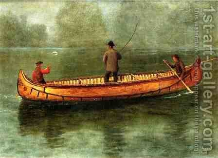 Fishing From A Canoe by Albert Bierstadt - Reproduction Oil Painting