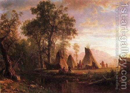 Indian Encampment  Late Afternoon by Albert Bierstadt - Reproduction Oil Painting