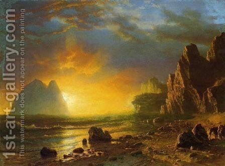 Sunset On The Coast by Albert Bierstadt - Reproduction Oil Painting