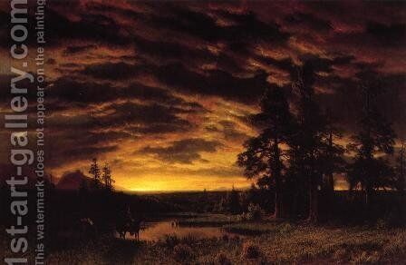 Evening On The Prarie by Albert Bierstadt - Reproduction Oil Painting
